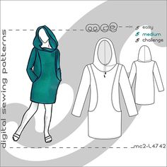 Hoodie Tunic/ Sweatshirt/ Mini Dress Pattern Recommended material: soft knits/jersey. To find out which size fits you best - use our MC2 Body Measurements Chart as your size guide (see picture). There is no ceiling for your imagination - a variety of fabrics gives your sewing projects