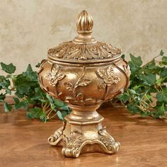 Vining florals grace the sides of the Rosebella Covered Bowl, climbing towards the removable lid embellished with scrolling acanthus leaves. Greenery Centerpiece, Table Centerpieces, Tuscan Decorating, Jewellery Boxes, Jewelry, Acanthus, Dream Decor, Minimalist Decor, Home Decor Items
