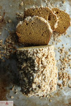 Pumpkin bread with oatmeal streusel.