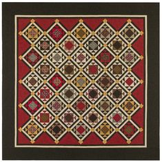 """Quilt Pattern by Red Crinoline Quilts - Soldier's Waltz - Made using Marcus Brother's Landon Creek. Black, red and gold... YOU can also find Paula Barnes' designed fabric collection Landon Creek at Fat Quarters Quilt Shop  Finished quilt size is about 93"""" by 93"""" - Pattern Price: $10.00 Look for our other Red Crinoline Quilts Patterns... and we carry lots of the beautiful fabrics designed by Paula Barnes for Marcus Fabrics too!!"""