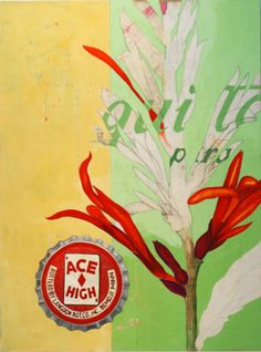 """Red Canna"" by Michael Mews....collage on panel 40x30 inches."
