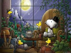 """Good Night!   (no words - """"Nighttime with Snoopy and friends."""")   --Peanuts Gang/Snoopy, Woodstock, &  Woodstock's pals"""