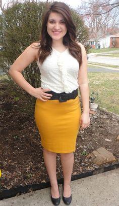 cream shirt, mustard skirt, wide black belt