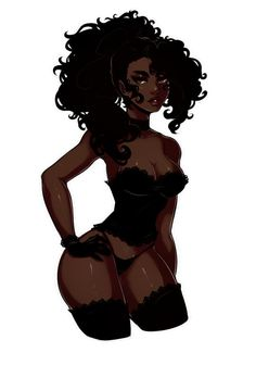 Dark Skin Anime Characters and Other Goodies Art Black Love, Sexy Black Art, Black Girl Art, Art Girl, Black Girls, Emo Anime Girl, Blonde Anime Girl, Anime Girl Pink, Sad Anime