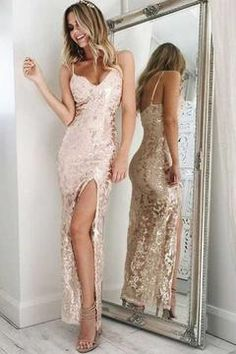 Buy Mermaid Ankle Length Pearl Pink Spaghetti Straps V Neck Sequins Split Prom Dresses uk in uk.Shop our beautiful collection of unique and convertible long Prom dresses from ,offers long bridesmaid dresses for women online. Split Prom Dresses, Sequin Prom Dresses, Backless Prom Dresses, Mermaid Prom Dresses, Cheap Prom Dresses, Cute Dresses, Beautiful Dresses, Dress Prom, Dress Long