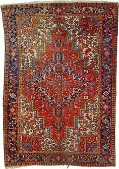 This Semi-Antique Authentic Persian Heriz rug is hand-knotted of 100% Natural Wool and has 100 knots per square inch. Colors found in this rug include: Red, Beige, Blue, Brown, Navy Blue. The primary color is Red. This rug is in Very Good condition, with minor blemishes (Low Pile). The measurements for this rug are: 7 feet 7 inches wide by 11 feet 1 inches long. This rug is currently in stock and will ship witihin 1 business day. Free shipping & Free custom-cut pad included $2636