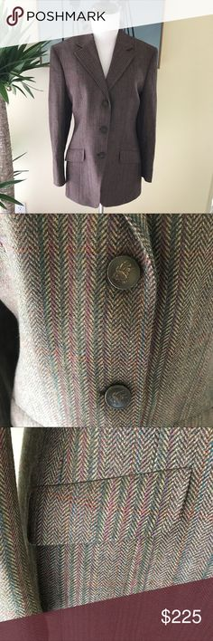 """Burberry Prorsum- Tweed Wool Button Up Blazer Burberry Prorsum 3 button tweed blazer. Intricately colored wool, with hues of pink, brown, green, yellow and blue. 3 wooden Burberry buttons at front and 2 buttons at each wrist. Elbow patches. Fold over collar, dual flap pockets, fully lined. Lightly padded shoulders. Made in USA of pure lamb's wool loomed in Scotland. No size tag, please see below. Waist: 33.5"""". Length: 25"""". Sleeve: 19"""". Hips 41.5"""". Bust: 36"""". Excellent preworn condition. No…"""