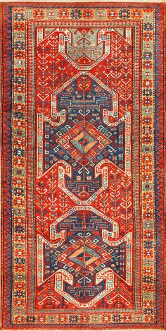 Tribal Gallery Size Runner Antique Caucasian Kazak Rug 48934