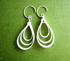 RECYCLED white earrings recycled jewelry eco friendly teamupcyclers. $24.00, via Etsy.