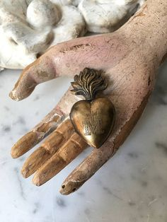 tiny 1800s antique French ex voto antique French Sacred Heart