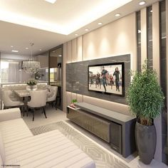 Image may contain: table, living room and indoor Tv Unit Furniture, Grey Furniture, Furniture Design, Living Room Partition, Modern Tv Wall Units, Living Room Tv Unit Designs, Tv Wall Decor, Tv Wall Design, Small Apartments
