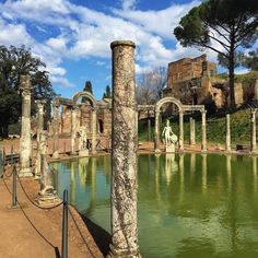 Hadrian's Villa Canopus. The re-erection of the columns placement of casts of statuary found  on site and refurbishment of the pond all add to the spectacular experience of Hadrian's sprawling estate.  I think there is a lot more to do to engage visitors of ancient sites and this world heritage site is a good model. #meetrome #recycledhistory #reconstructedhistory #ancientromelive by saverome