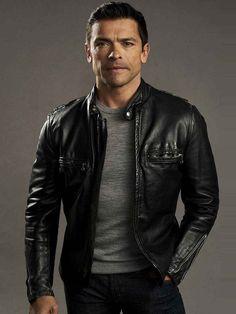 Leather Jeans Men, Men's Leather Jacket, Calf Leather, Black Leather, Jacket Men, Leather Jackets, Mark Consuelos, Top Celebrities, Good Looking Men