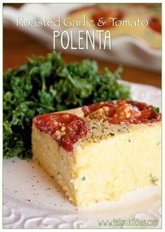Roasted Garlic and Tomato Polenta. Vegan! - Helyns Healthy Kitchen