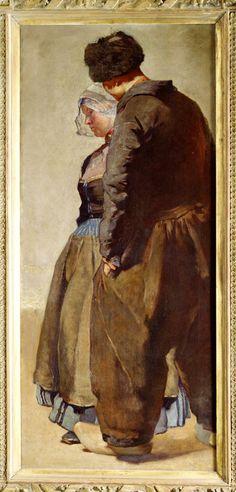 Eene oude geschiedenis 1901-1902 maker: Jacoby, Carl (1853-1928) De Duitser Jacoby heeft het doek gemaakt in zijn Brusselse atelier. Tijdens zijn verblijf in Volendam had hij typische Volendammer kledingstukken aangekocht. Hij liet modellen in zijn atelier deze kledingstukken dragen. Het interieur en de omgeving zijn niet typisch Volendams. Alleen door de kleding wordt de suggestie van het vissersdorp opgeroepen. #NoordHolland #Volendam