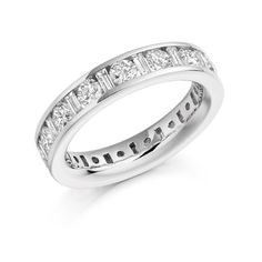 Beautiful eternity ring made of round brilliant shaped diamonds and emerald shaped diamonds channel set in white gold. also in yellow gold and rose gold Eternity Rings, Dublin, Emerald, Lavender, White Gold, Rose Gold, Engagement Rings, Diamond, Beautiful