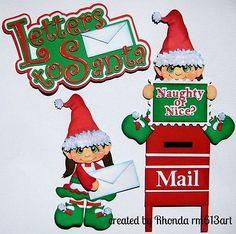XMAS Santa Letter Elves girl paper piecing  premade scrapbook  Rhonda rm613art   eBay!