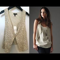 PRICE DROP❗️HOST PICKEileen Fisher sequin vest Host pick! Eileen Fisher sequin encrusted matka , racerback vest Color: Bone (neutral) Size XS BRAND NEW WITH TAG Eileen Fisher Jackets & Coats Vests