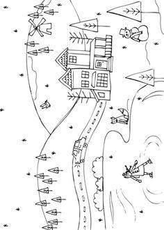 21 disegni di paesaggi invernali da colorare scuola for Disegno paesaggio invernale