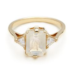 Anna Sheffield Moonstone Bea engagement ring, $2500. || Anna Sheffield is forever my favorite jewelry designer, and the Bea is forever my favorite style. I LOVE the moonstone, this is ridiculously gorgeous. Dear future husband, get me this. <3