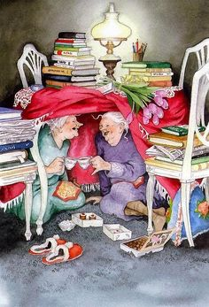 Ideas funny love illustration inge look Norman Rockwell, Pics Art, Belle Photo, Old Women, Old Ladies, Book Worms, Book Lovers, Tea Party, Illustration Art
