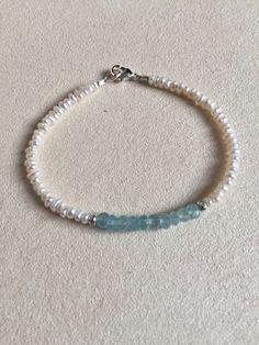 Sundance style chalcedony rice pearl bracelet