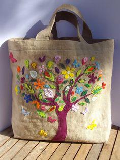 SOLD Handmade large jute unique tote handbag , The wealth of nature. $80.00, via Etsy.