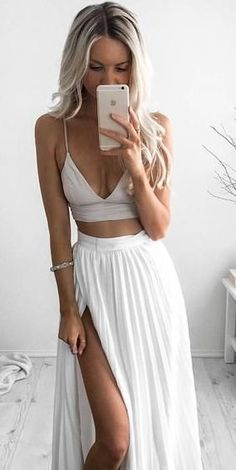 split pleated maxi. crop top. bralette. all white. summer style.