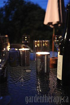 Homemade Citronella Candles to keep bugs away from the party (via Garden Therapy)