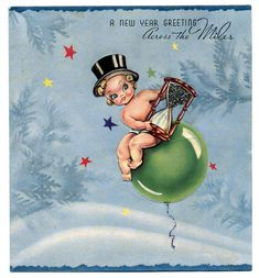 vintage happy new year postcard | new year baby