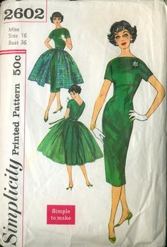 Simplicity 2602 1950s dress with tulle or fabric overskirt.
