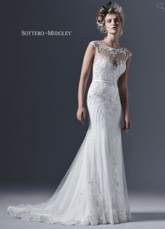 Illusion Sheath Wedding Dress  with Natural Waist in Tulle. Bridal Gown Style Number:33233602