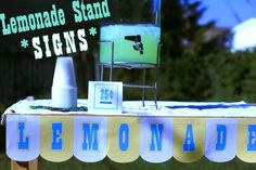 Lemonade stand signs for the kids