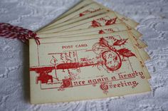 Handmade Christmas Gift Tags  Postcard by TatteredRosesPaperie, $4.99