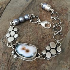 Ocean Jasper Bracelet by Cold Feet Studio. not huge one the bracelet itself, but i love that jasper, it looks like two colliding stars Stone Jewelry, Metal Jewelry, Jewelry Art, Antique Jewelry, Silver Jewelry, Jewelry Design, Women Jewelry, Silver Ring, Diamond Jewelry