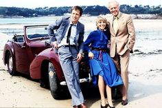 John Nettles with actress Deborah Grant and Terence Alexander from Bergerac TV show