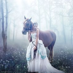 I know, I know another one with a girl in a pretty dress, but look she's in a forest and there's a horse too!