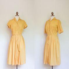 vintage 1950s yellow day dress / 50s bright tea by inheritedattire