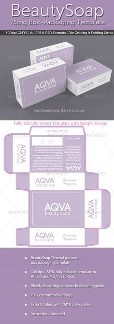 Dual Color Soap Box Packaging Template | Packaging Print Templates | Custom Soap Boxes | Design Your Own Soap Boxes