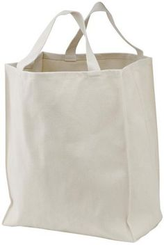Port & Company - Reusable Grocery Tote Bag,One Size,Natural Port Authority
