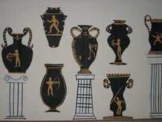 5th grade ancient Greek cut-paper urns and columns; art teacher: Susan Joe