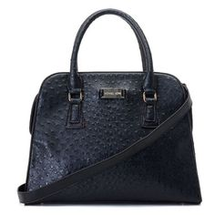 Michael Kors Gia Ostrich-Embossed Large Black Satchels only $72.99
