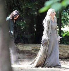 Awesome Lana and Jen (Regina and Emma) filming or on a break from filming the awesome Once S5 premiere E1 The Dark Swan on the sets of Once in Steveston Village Vancouver BC the week of Monday 7-13-15