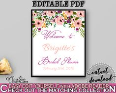 Watercolor Flowers Bridal Shower Bridal Shower Welcome Sign Editable in White And Pink, welcome to shower, digital print, prints - 9GOY4 #bridalshower #bride-to-be #bridetobe