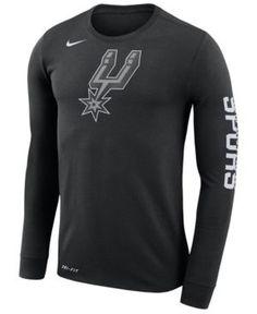 Nike Men's San Antonio Spurs Dri-fit Cotton Logo Long Sleeve T-Shirt - Black XL