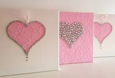 Set of three 10x10 heart canvasses.  Painted with acrylic (pink and white) paint, decorated with acrylic rhinestones, pink lace fabric and satin ribbon.  A great set to accent any young or young at heart girls room. Very cute for nursery wall décor.  Custom orders are always welcome.