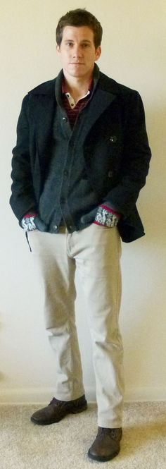My Favorite Outfits - Crisp Winter Day (Express pea coat, AE rugby shirt, H cardigan, PacSun slim fit denim, boots from Kohl's) Gq Fashion, Fashion Styles, Bald Men, China, Green Pants, Dress Codes, Business Casual, How To Look Better, Pacsun