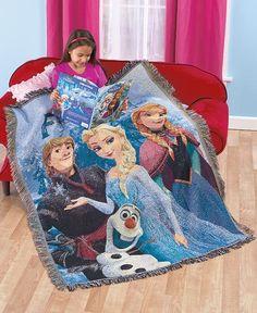 "Disney's Frozen Tapestry Throw Blanket 48"" X 60"" Kids Elsa Olaf Anna Kristoff"