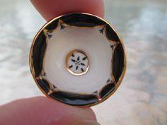 Ron Benson, IGMA fellow - Art Deco Black & White Bowl w/ Gold Trim '95