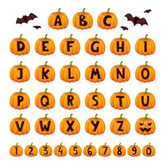 Halloween font alphabet vector set. Vintage Design. $5.00